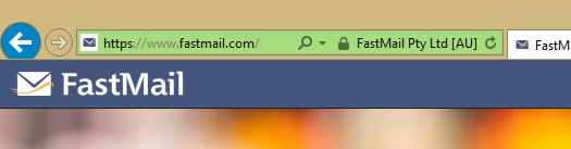 Green EV SSL badge reads FastMail Pty Ltd