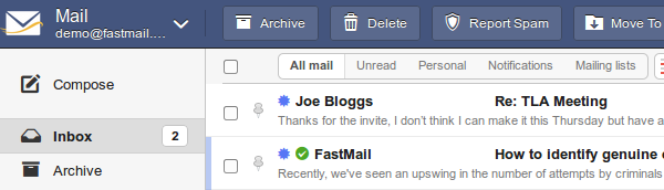 Green tick next to sender name in mailbox list